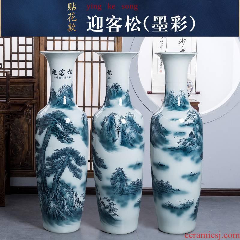 Blue and white porcelain of jingdezhen ceramics color ink of large vase home sitting room hotel adornment king furnishing articles