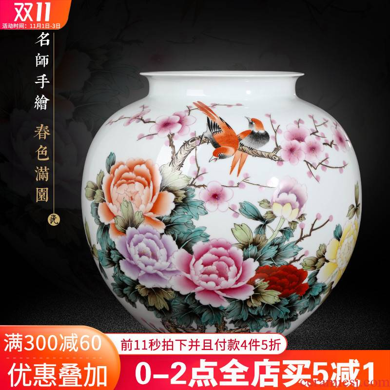 Jingdezhen ceramics masters hand draw large diameter wide expressions using vase furnishing articles living room flower arranging Chinese style decoration