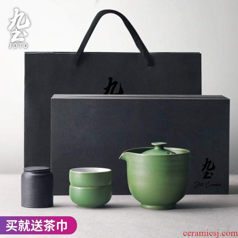 About Nine soil tea set Mid - Autumn festival gifts from the the qing hip hand - made ceramic teapot set of fine gold crack cup gift box