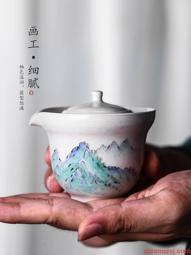Kombucha tea hand grasp the hot teapot lid bowl of jingdezhen ceramic plant ash glaze small hand - made landscape tea set