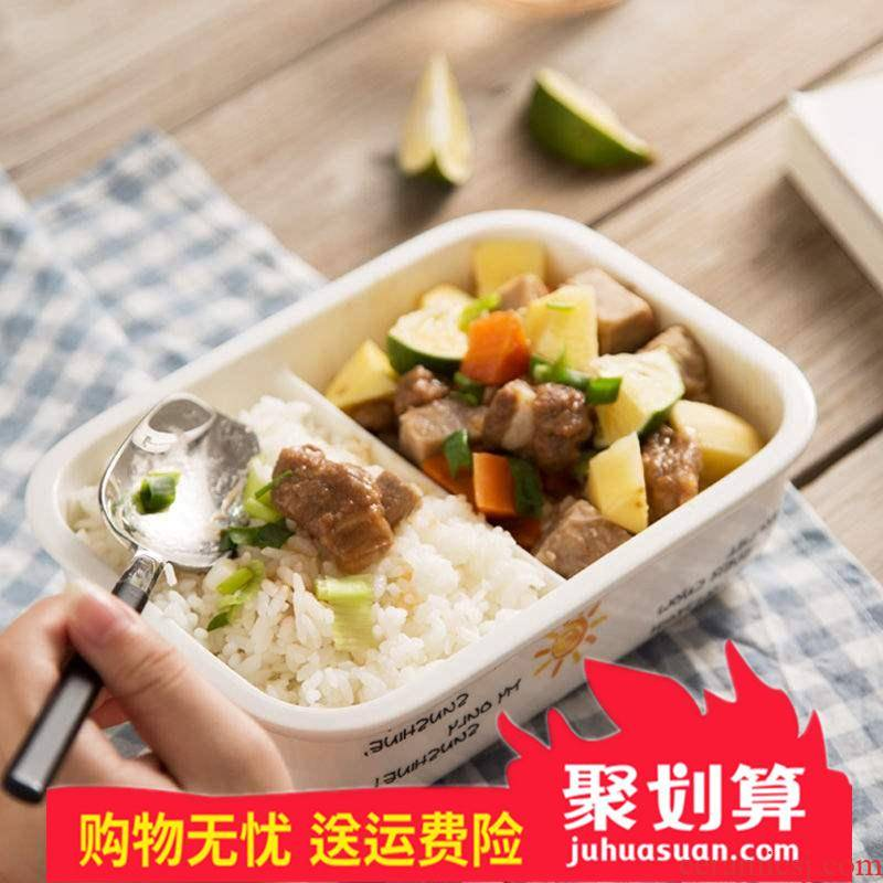 Rectangular send tableware damage repair 】 【 lunch box cover space ceramics microwave round buckle, seal lunch dishes