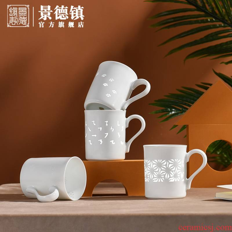 Jingdezhen ceramic missile time, exquisite calligraphy ball mark cup of clear water flowers gifts home office gift boxes