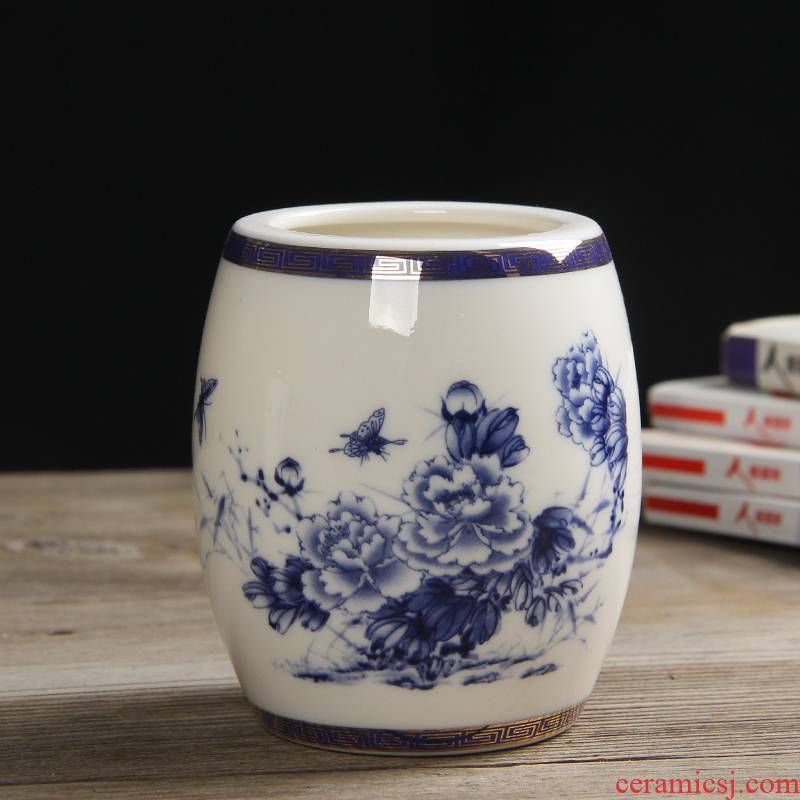 Ceramic restoring ancient ways round brush pot peony large Ceramic vase of blue and white porcelain office furnishing articles hydroponic plant pot