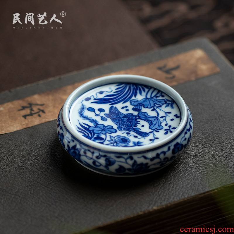 Pure manual hand - made to mackerel algal grain tea cover rear cover supporting ceramic lid on blue and white CiHu bearing