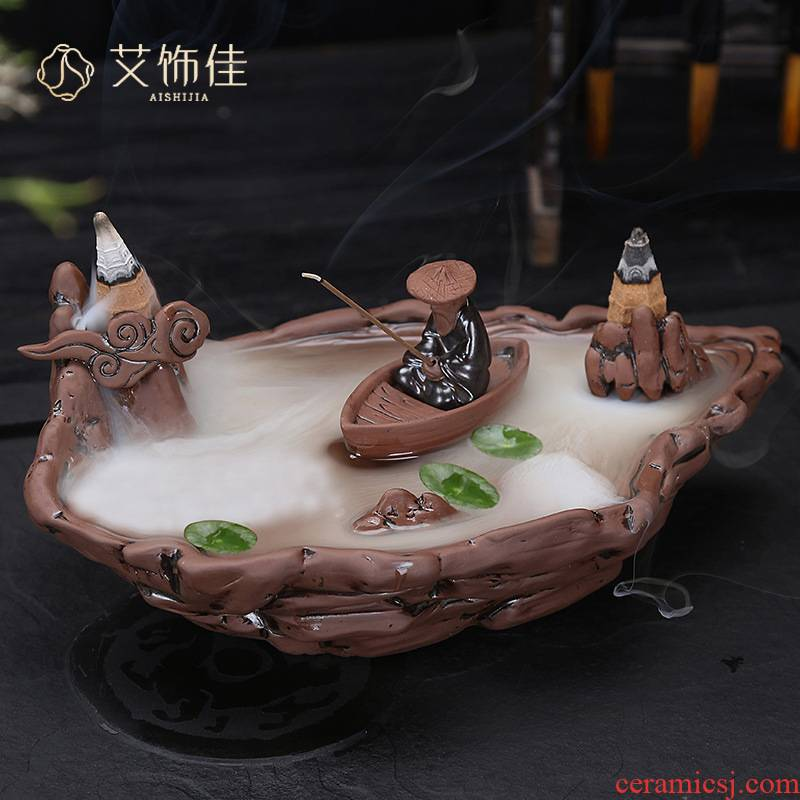 Creative backflow censer ceramic aromatherapy furnace interior violet arenaceous ta mountain stream large - sized furnishing articles on the spot