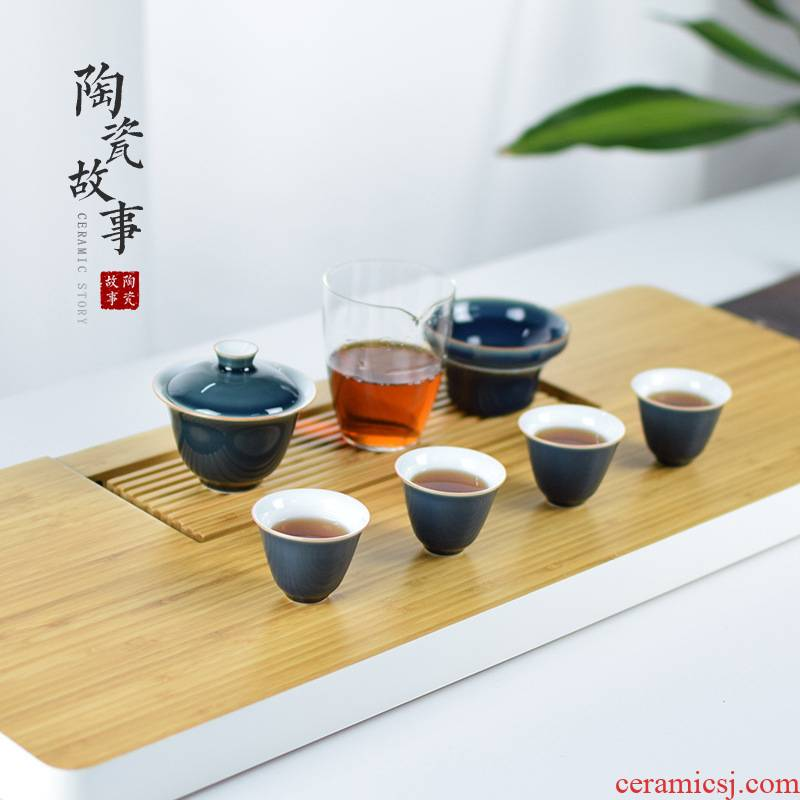 Ceramic travel story tea tureen tea cups small kung fu tea tea set is suing contracted household