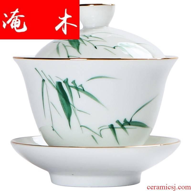 Submerged wood hand - made only three tureen large tea cups white porcelain paint ceramic bowl is pure manual thin foetus kunfu tea