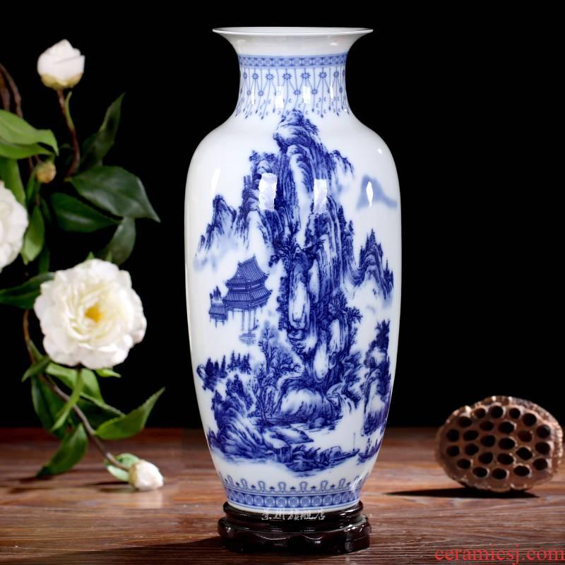 Jingdezhen ceramics landscape painting large blue and white porcelain vase I household adornment desktop sitting room mesa furnishing articles