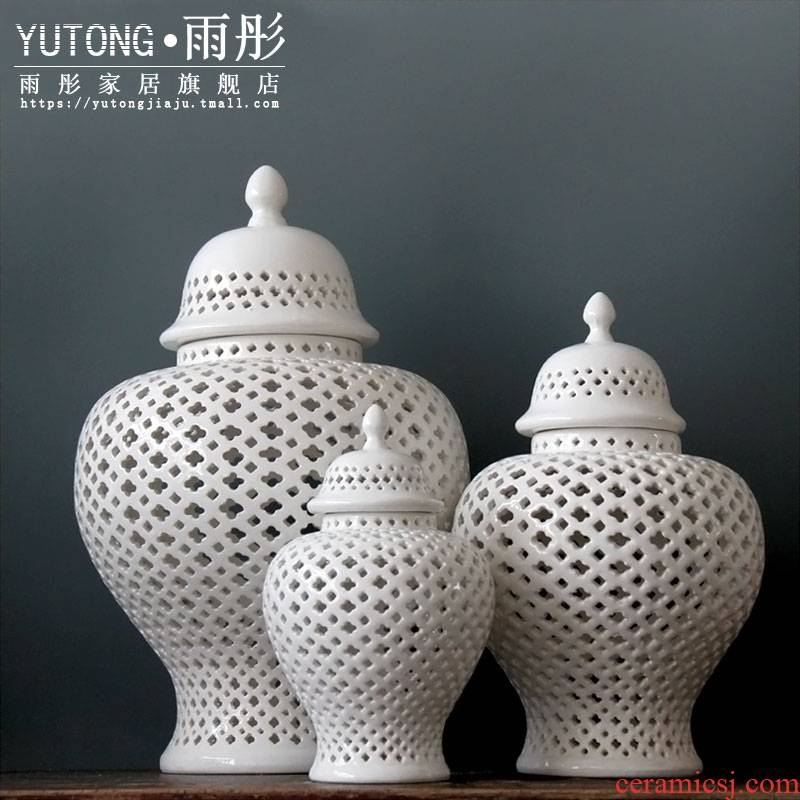 Contracted and I creative hollow out the general tank Contracted style hollow out the general pot of creative household ceramics furnishing articles