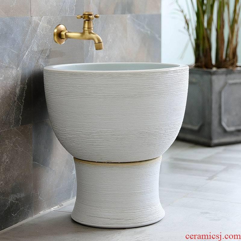 Jingdezhen ceramic household balcony manual art archaize floor mop pool toilet size mop pool