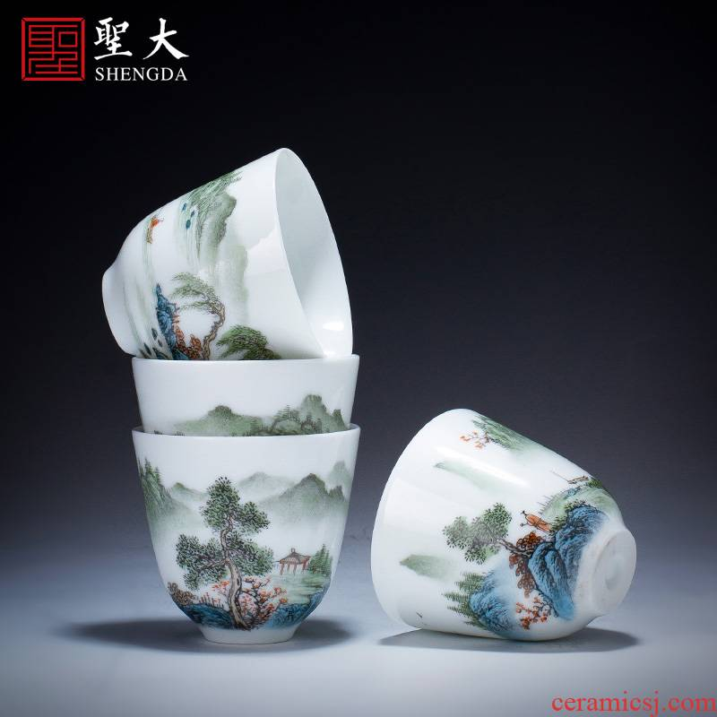 Santa teacups hand - made ceramic kung fu new color landscape four scene - CPU master cup sample tea cup set of jingdezhen tea service