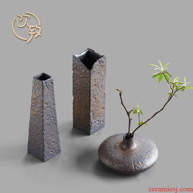 Ultimately responds to gold coarse pottery vase restoring ancient ways Japanese zen tea art flower implement ceramic small flower tea tea table furnishing articles