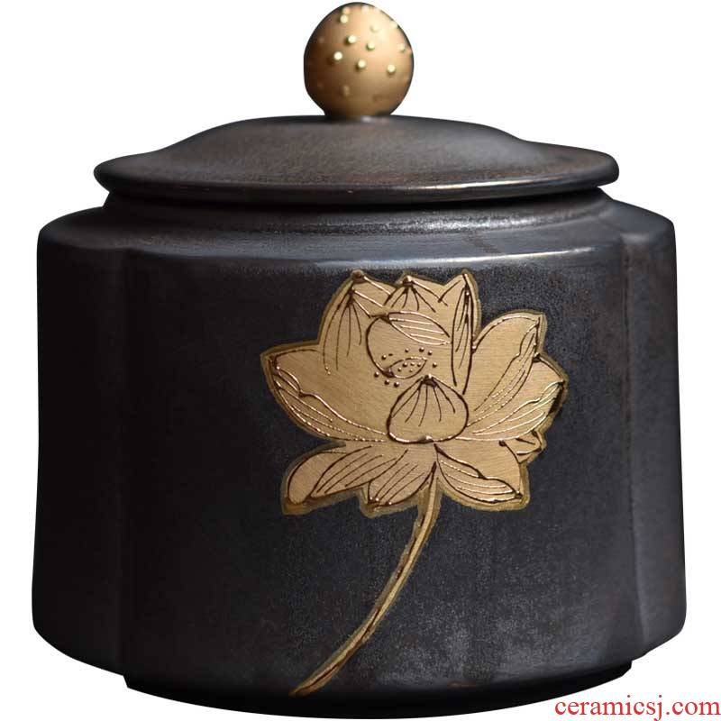 Shadow enjoy tea tea bucket of pu - erh tea box sealed tank rust glaze ceramic tea pot home restoring ancient ways