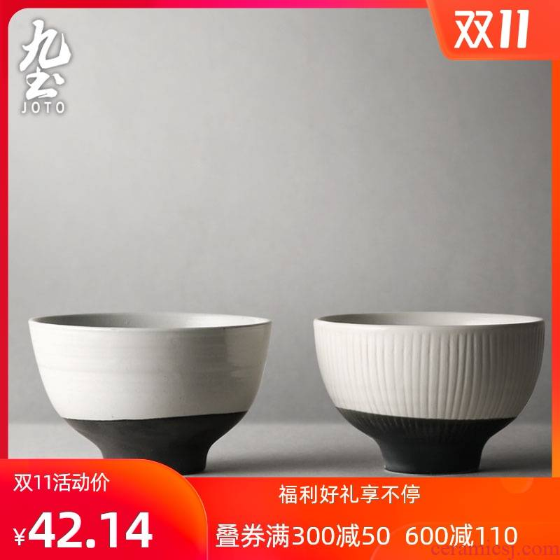 About Nine soil Japanese checking ceramic tableware rice meal bowl of black and white glaze creative contracted household soup bowl feeder rainbow such use