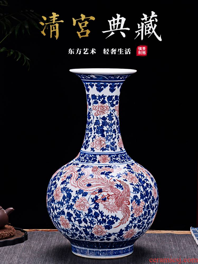 Jingdezhen ceramics archaize large blue and white porcelain vase in the sitting room of the new Chinese style household adornment TV ark, furnishing articles