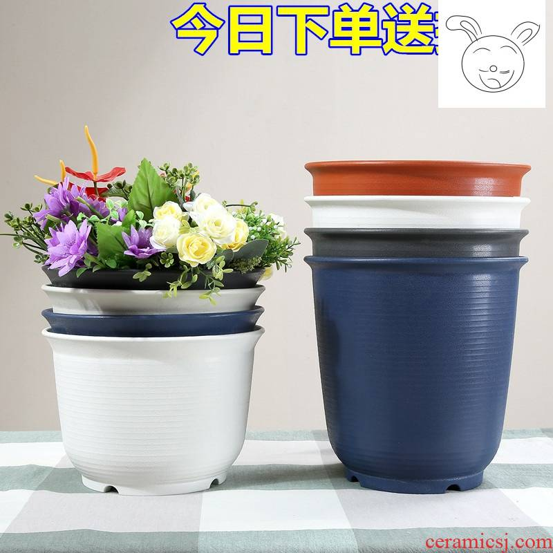 The New high - grade environmental protection resin flower pot thickening resistant ceramic flower pot pot meat other balcony more plastic flower pot