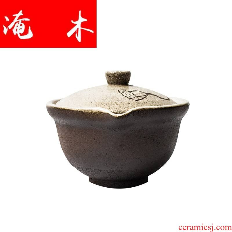 Submerged wood manual coarse pottery tureen Japanese tea kungfu tea set ceramic Chinese hand quickly catch a pot of tea ware bowl