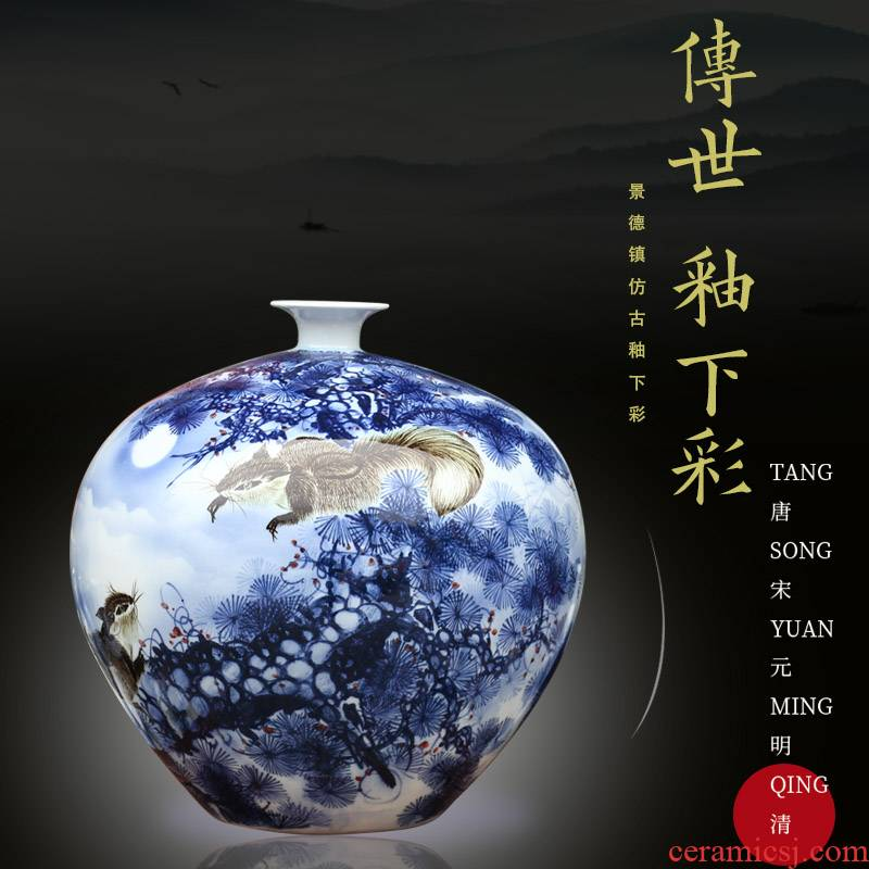 Jingdezhen hand - made gold plutus squirrel ceramic dry flower vase household living room a study mesa furnishing articles