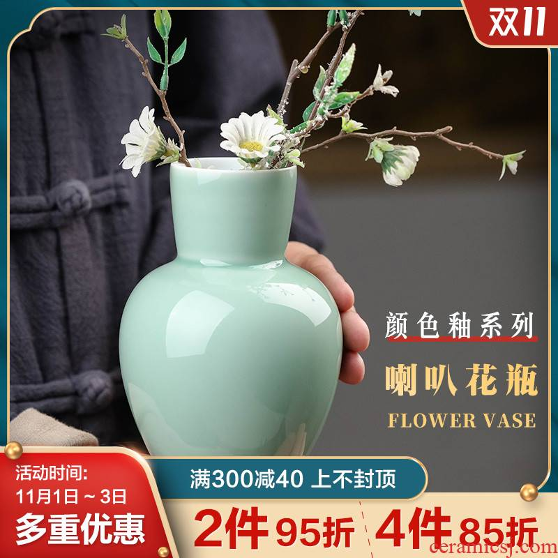 Jingdezhen ceramic flower implement furnishing articles flower vase of new Chinese style originality contracted sitting room desktop office decoration
