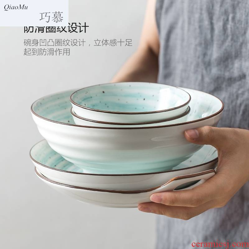 Qiam qiao mu red sun type dishes suit dishes home eat bowl ceramic tableware chopsticks by by 2/4/6 people group