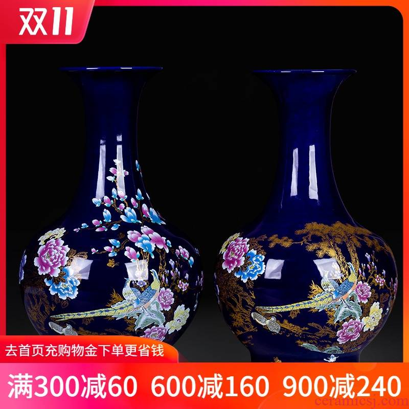 Blue bottle porcelain of jingdezhen ceramics Chinese style household act the role ofing is tasted flower arrangement sitting room TV ark adornment furnishing articles