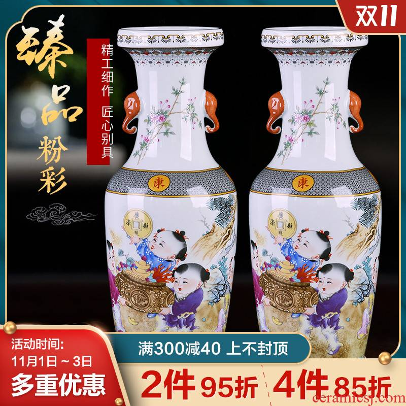 Jingdezhen ceramics, vases, flower arranging furnishing articles famille rose porcelain of binaural Chinese style restoring ancient ways office desktop decoration
