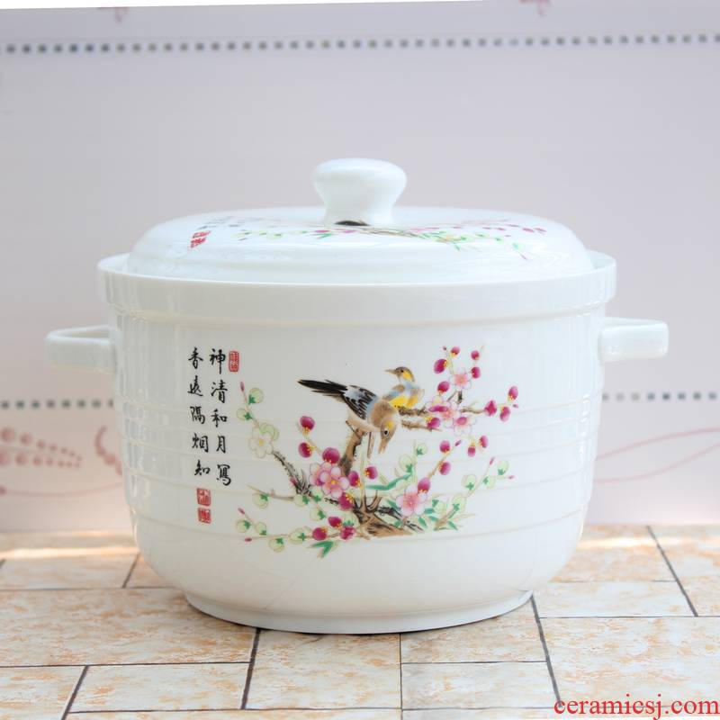 The New large ceramic bowl with cover ears special soup bowl as the soup pot microwave preservation bowl of preferential packages mailed
