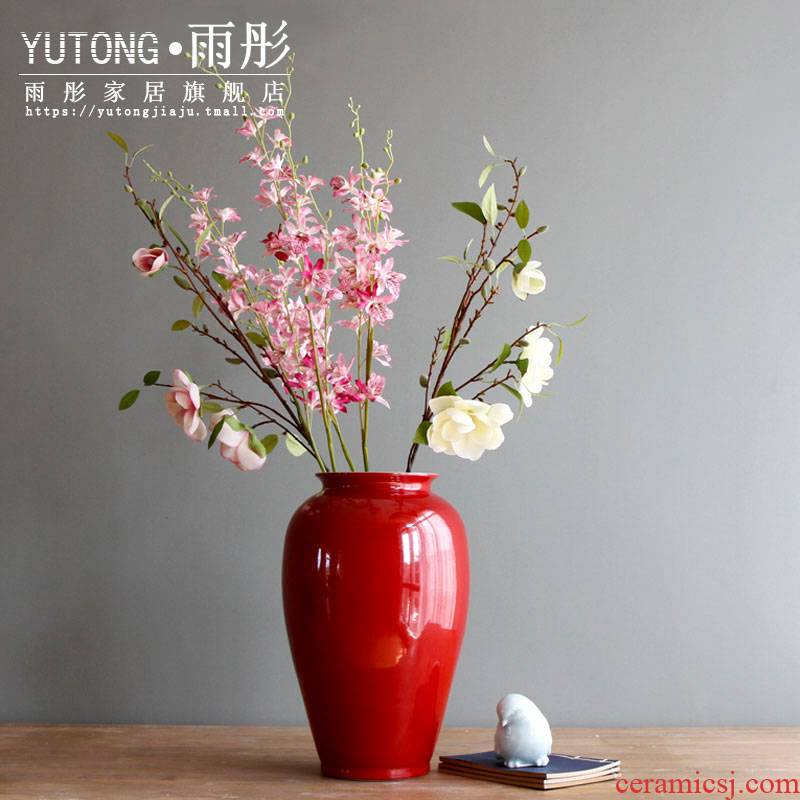 Ceramic vases, flower arranging grain dry flower is placed red creative flower arranging small vase expressions using water raise living room