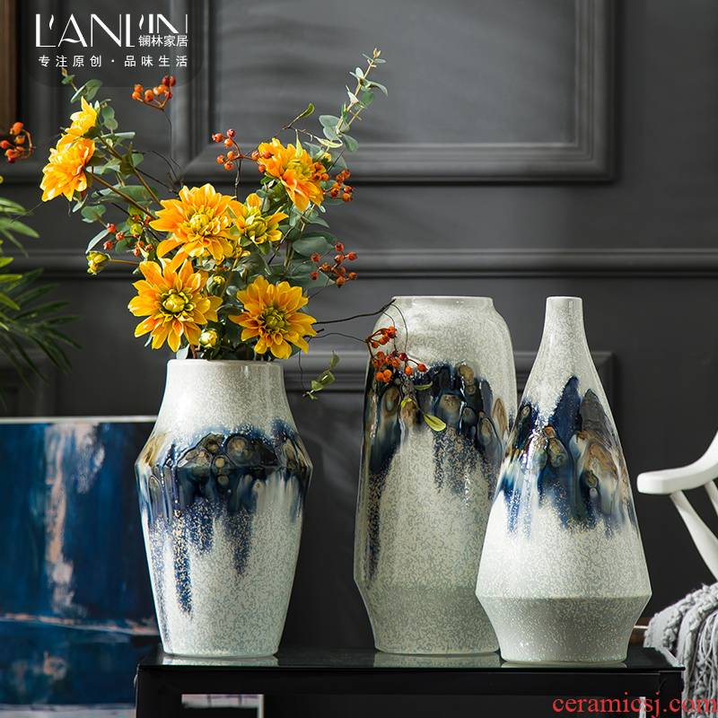 Vase furnishing articles creative living room table contracted style home decoration ceramic flower arranging dried flowers be born floret