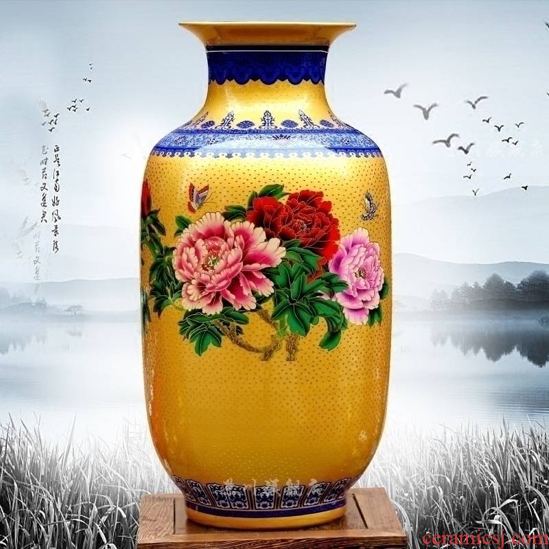 Jingdezhen ceramics powder enamel wave point gold bottle gourd peony sitting room flower arrangement craft vase household act the role ofing is tasted furnishing articles
