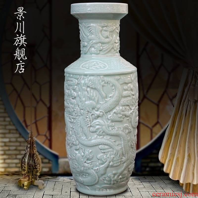 Jingdezhen ceramics carved green glazed carved dragon sitting room of large vase household study office furnishing articles ornament