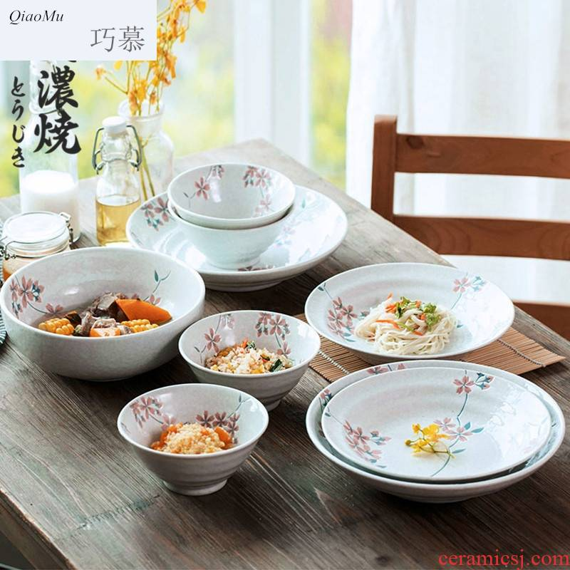 Qiao mu Japanese cherry blossom put ceramic tableware plate sets of household snack dish dish dish soup plate sushi plate