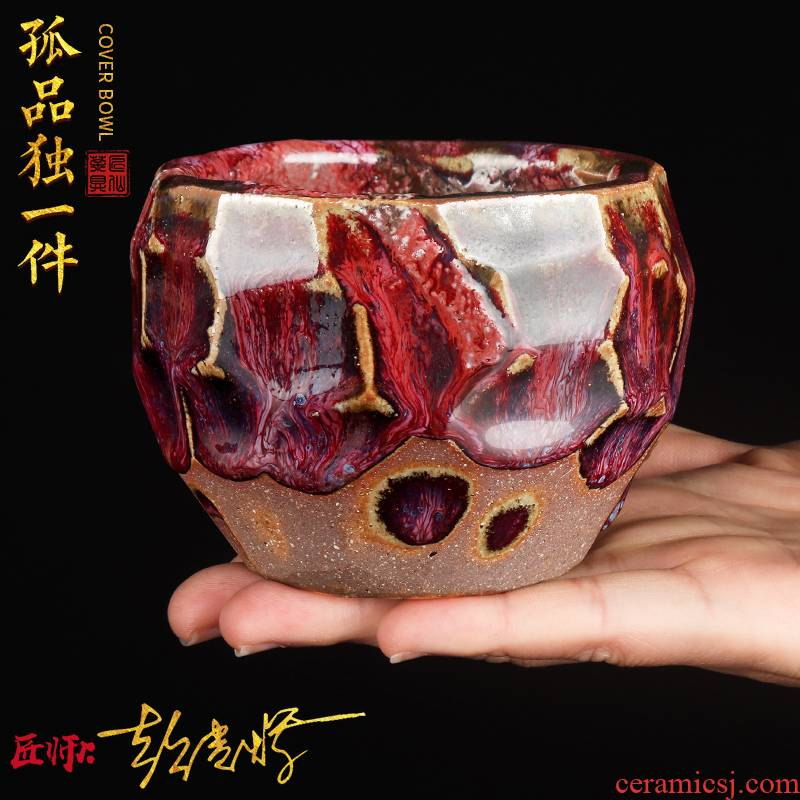 Artisan fairy Peng Guihui master hand made tzu wild'm masters cup gold ceramic kung fu tea set single cup sample tea cup