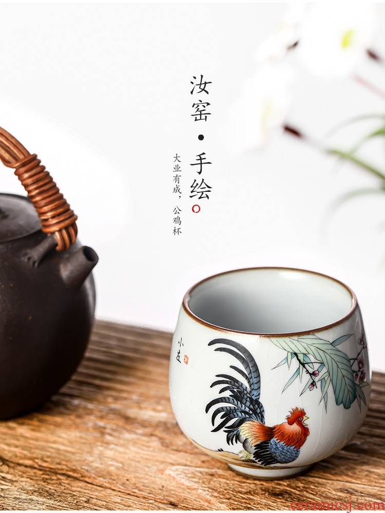 Hand your up jingdezhen kung fu tea masters cup a cup of pure checking sample tea cup single zodiac chicken ceramic cup