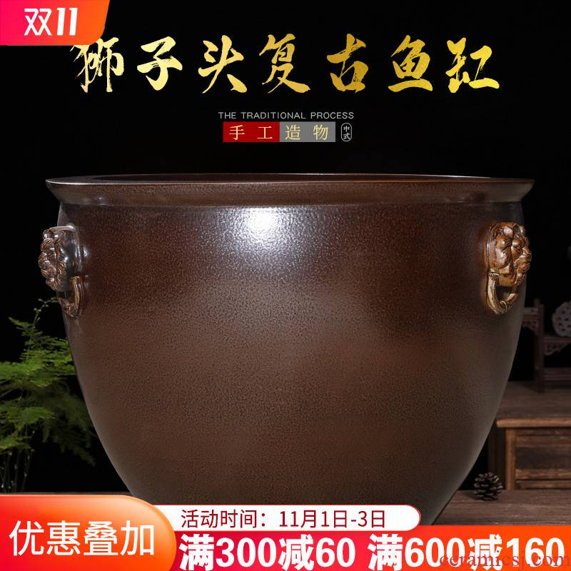 Jingdezhen ceramic aquarium large tank sitting room is suing garden water lily basin bowl LianHe cylinder extra large size large