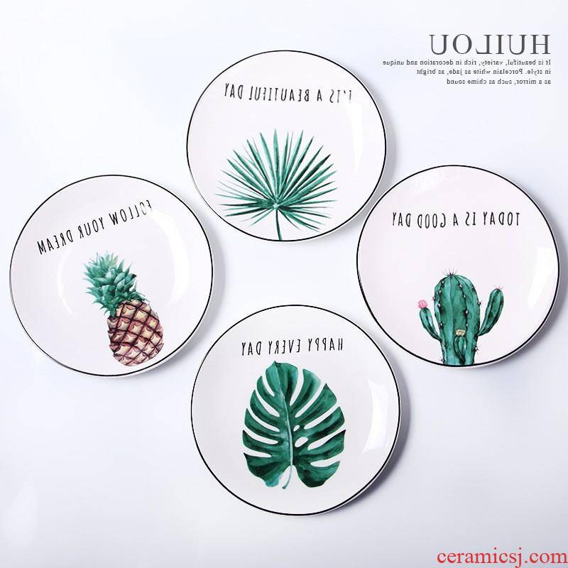 The kitchen creative new ceramic plate of household disc beefsteak plate tableware plate can be customized to suit to use L