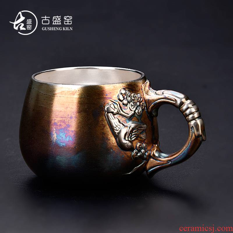 Ancient sheng up new popular Chinese silver glass office cup tasted silver gilding the main single cup coffee cup personal ceramic cup