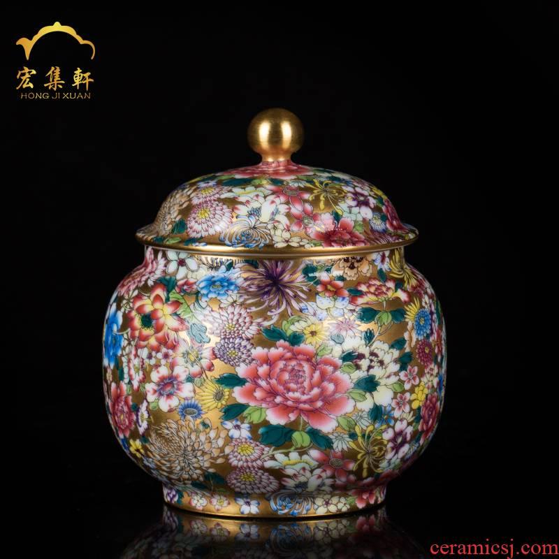 Jingdezhen ceramic tea pot colored enamel flower paint wake receives stock POTS sealed tank tea accessories