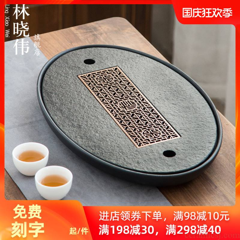 Chinese dry terms Taiwan I and contracted sharply stone tea tray drainage ceramic household mobile tea round saucer dish