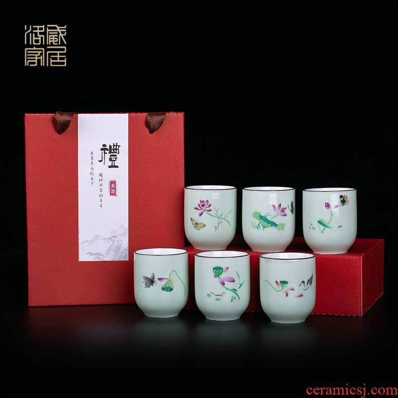 Blower, celadon porcelain cups with a cup of water cup six young jingdezhen hand - made tea sets kung fu tea cups
