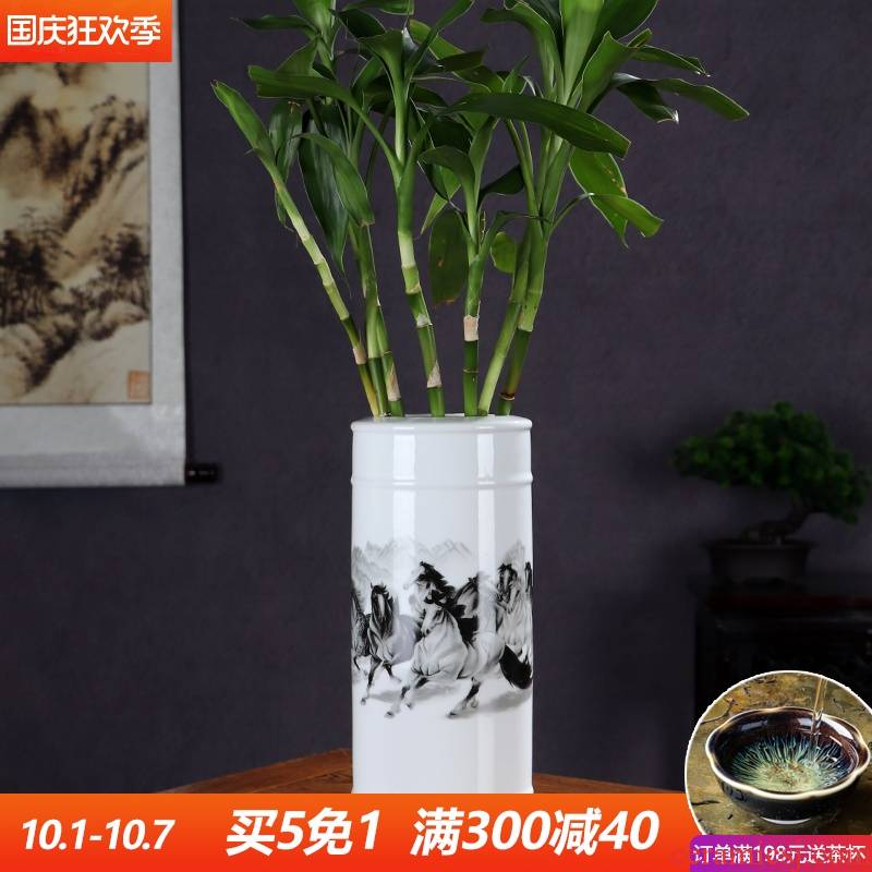 New product success lucky bamboo vase hydroponic jingdezhen ceramics sitting room place flower arranging Chinese style decoration