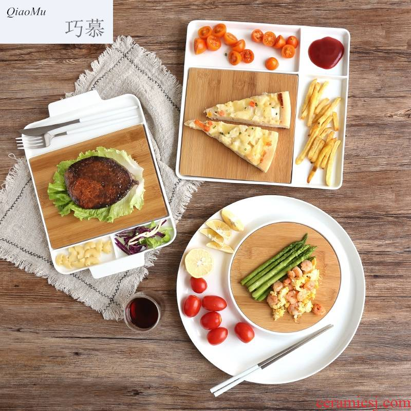 Qiao mu creative ceramic bamboo frame of bread plate breakfast dish children fruit bowl beef dish sushi plate of fruit tray
