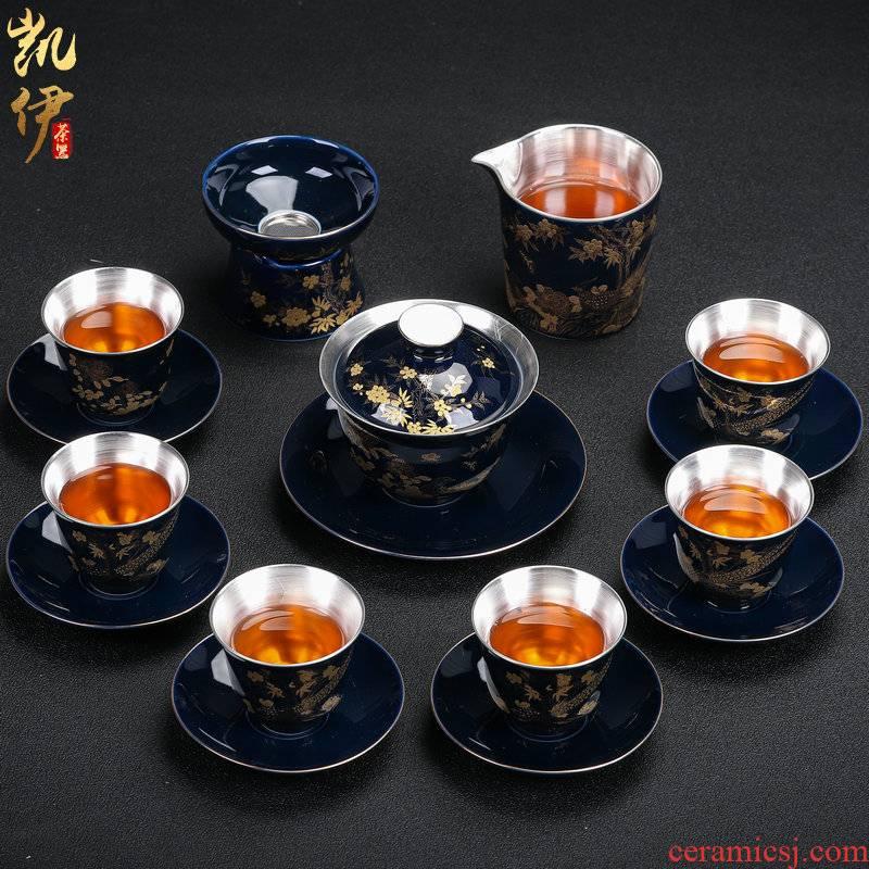 Very beautiful silver mine loader kung fu tea set of jingdezhen ceramic teapot silver tureen gifts office tea cups