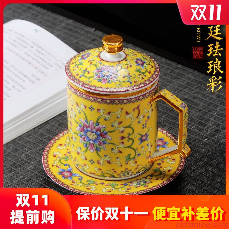 See Colour enamel artisan fairy office glass ceramic cup creative household pure manual filtering with tray tea cup