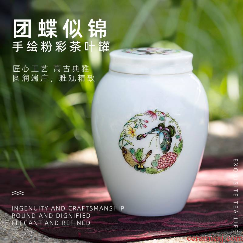 Wake up POTS butterfly like brocade pure manual painting small storage tanks of jingdezhen ceramic seal tank portable receive a box