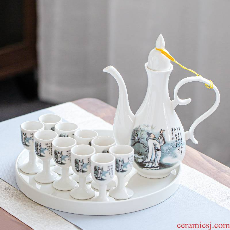 Chinese style of longquan celadon wine palace wine home a small handleless wine cup archaize ceramic points temperature wine pot white toast tall foot cup