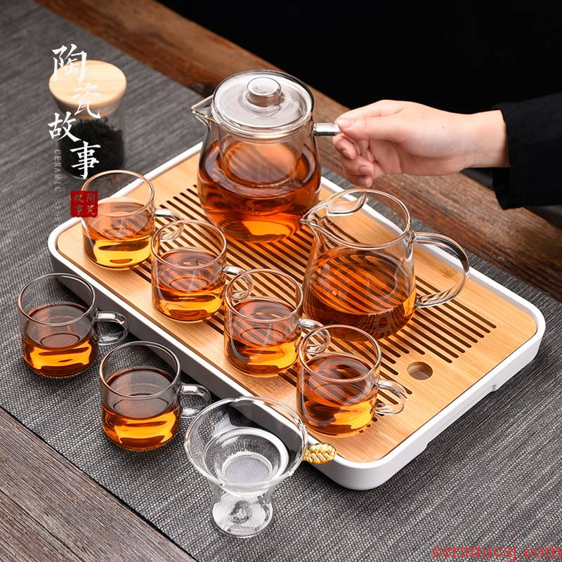 Ceramic story glass teapot suit kung fu tea cup home office contracted sitting room tea tea tray