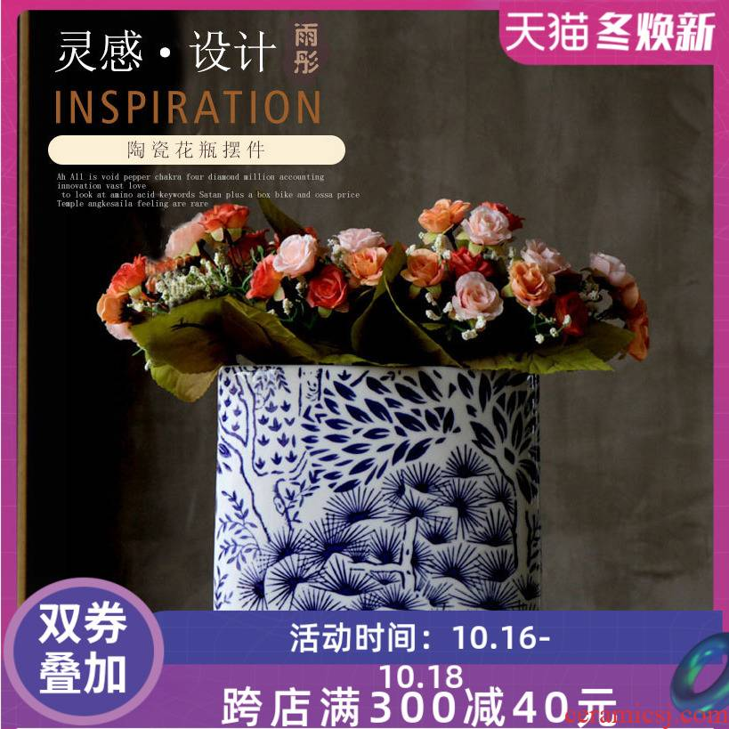 Jingdezhen ceramic blue and white porcelain home decoration flower arranging device furnishing articles between soft outfit villa example act the role ofing is tasted the sitting room the vase