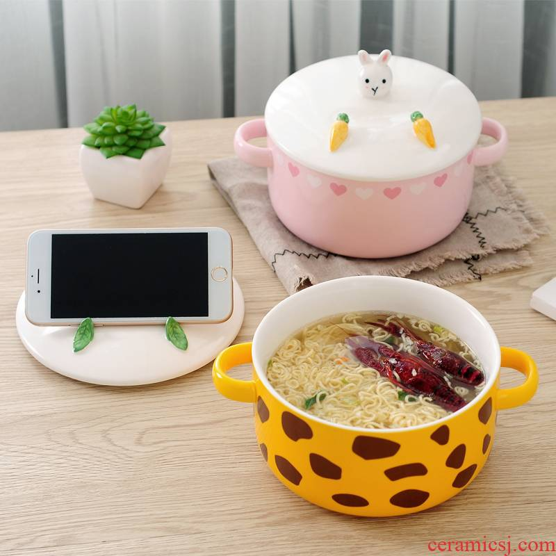 Express cartoon mercifully rainbow such as bowl with cover lunch box ceramics dormitory big rainbow such as bowl with a instant such cups with mobile phone support