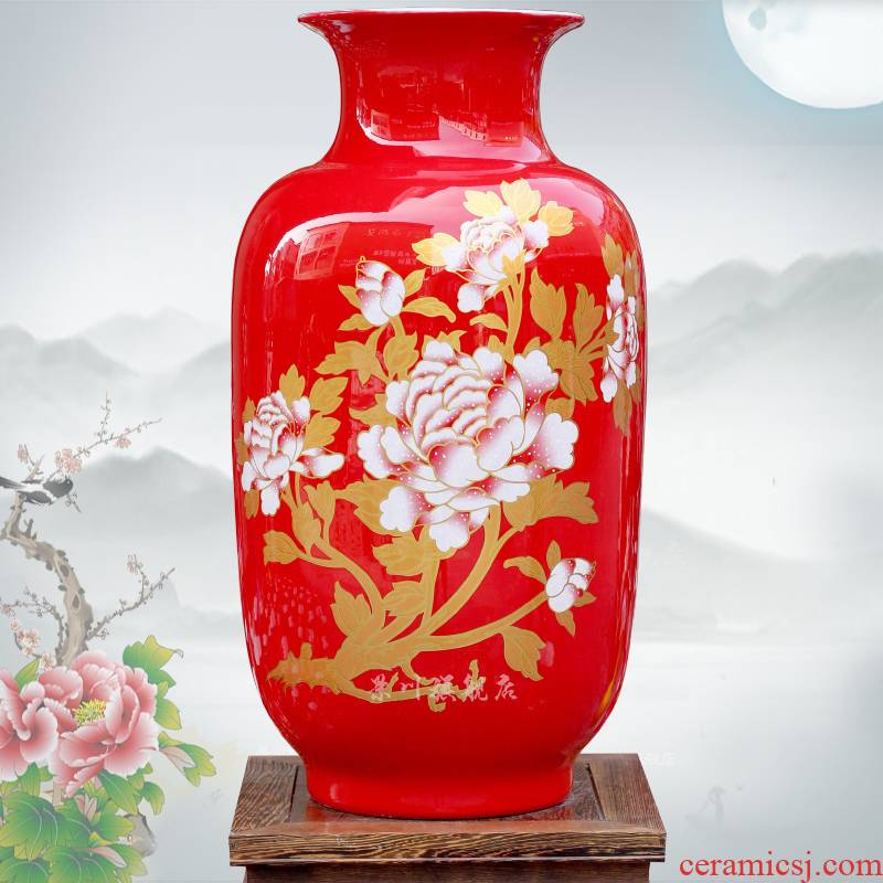 Jingdezhen ceramic Chinese red gold peony flower arranging dried vase sitting room office mesa study place adorn article